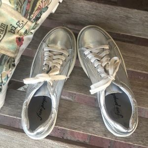 Silver leather free people sneakers size 8